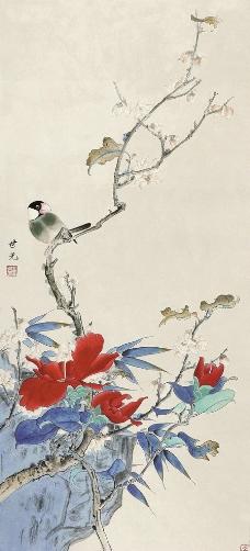 山茶翠鸟图片