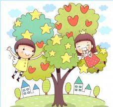 在果实满枝树旁的孩子