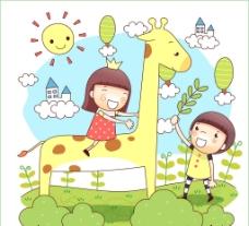 骑在长颈鹿上的小女孩图片