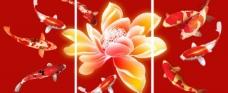 九鱼莲花图装饰画图片