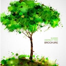 泼墨水彩树木图片