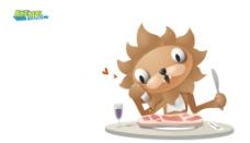 小狮子吃西餐图片