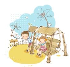 度假村里玩耍的小朋友图片
