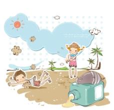 在沙滩游玩的小朋友图片