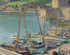 港口油画图片