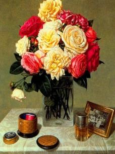油画 玻璃杯中盛开的鲜花图片