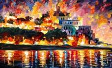油画 海港之夜图片