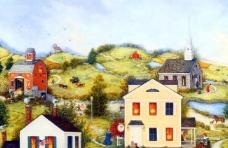油画 山坡上的房屋图片