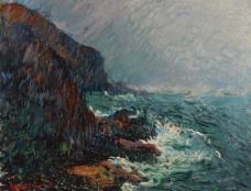 海岸线油画图片