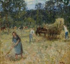 农耕油画图片