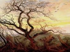 油画老树图片