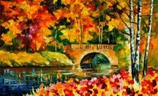 油画 秋天的桥图片