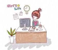 在电脑前写作的女孩