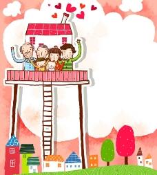 卡通房子和幸福家庭图片