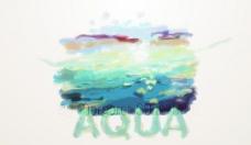 淡雅水彩抽象海报设计图片