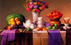 油画 餐桌上的水果和鲜花图片