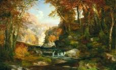油画寂静的森林图片