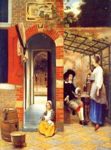 油画 饮水的男子图片