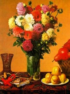 油画 鲜花旁边的水果图片