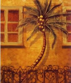 手绘画 油画 画芯 椰树图片