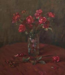 油画红花图片