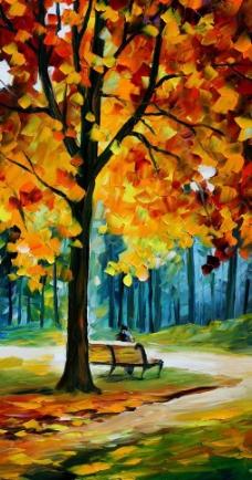 油画 公园秋景图片