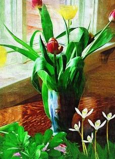 郁金香油画装饰图片