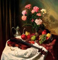 小提琴 水果 花图片