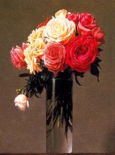 油画 水杯中的鲜花图片