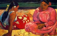 油画 沙滩妇女图片