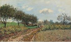 Alfred Sisley - The Road at Campagne, 1876.jpeg大师画家风景画静物油画建筑油画装饰画