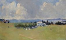 Frank Weston Benson - Wooster Farm (The Farm at North Haven), 1912大师画家风景画静物油画建筑油画装饰画