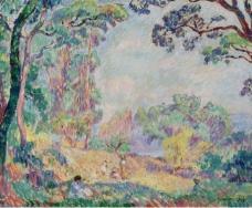 Henri Lebasque - Landscape with Young Women and Girls, 1906大师画家风景画静物油画建筑油画装饰画
