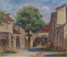 Pierre Auguste Renoir - The Farm Yard at Essoyes大师画家风景画静物油画建筑油画装饰画