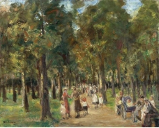 Max Liebermann - Strollers in Tiergarten, 1925大师画家风景画静物油画建筑油画装饰画