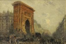 Frank Myers Boggs - Paris, the Porte Saint-Denis, 1905大师画家风景画静物油画建筑油画装饰画