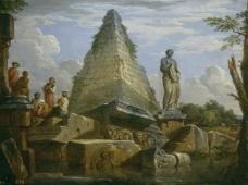 Panini, Giovanni Paolo - Ruinas con la Piramide de Cayo Cestio, Ca. 1730大师画家古典画古典建筑古典景物装饰画油画