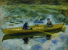 Pierre Auguste Renoir - Claude Monet with Mme Henriot, 1880法国画家克劳德.莫奈oscar claude Monet风景油画装饰画