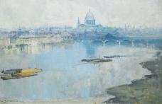 Arthur Streeton - St. Paul`s and the River, 1918大师画家风景画静物油画建筑油画装饰画