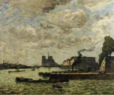 Frank Myers Boggs - The Quay of Henri IV and Notre-Dame大师画家风景画静物油画建筑油画装饰画