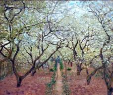 Orchard in Bloom, 1879法国画家克劳德.莫奈oscar claude Monet风景油画装饰画