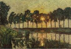 Emile Claus - Trees by a Lake.jpeg大师画家风景画静物油画建筑油画装饰画
