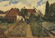 Henri De Braekeleer - Flower garden大师画家古典画古典建筑古典景物装饰画油画