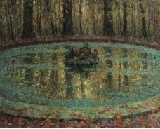 Henri Le Sidaner - The Pool with Duckweed, 1916大师画家风景画静物油画建筑油画装饰画