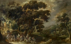 Kerstiaen de Keuninck  Landscape with the temptation of St Anthony the Great of Egypt大师画家古典画古典建筑古典