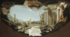 Flipart, Charles Joseph - Paisaje con perspectiva arquitectonica, Ca. 1779大师画家古典画古典建筑古典景物装饰画油画