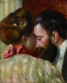 Pierre Auguste Renoir - Confidence, 1897法国画家皮埃尔奥古斯特雷诺阿Pierre Auguste Renoir印象派人物油画