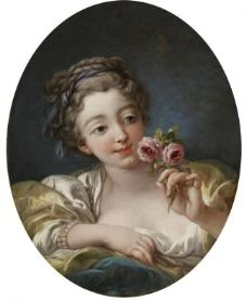 少女与玫瑰图片
