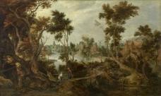 Gillis Claesz. de Hondecoeter - Landscape with Elijah and the widow of Sarepta大师画家古典画古典建筑古典景物装饰画油画