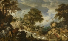 Roelant Savery - Orpheus and the Animals大师画家古典画古典建筑古典景物装饰画油画